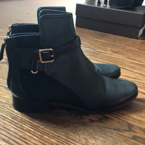 Dvf black leather and chalk hair booties size 7